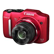 Canon PowerShot SX160 IS 16MP Point-and-Shoot Digital Camera (Red) with 4GB SDHC Card, Camera Case, Battery Charger...