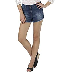 IRALZO Patch Work Denim Shorts with Side Zipper