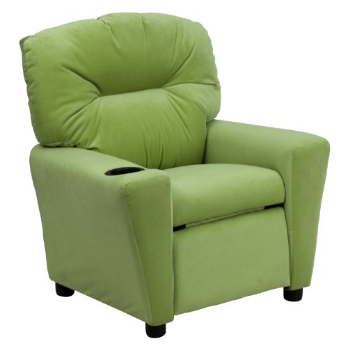 Contemporary Avocado Microfiber Kids Recliner with Cup Holder