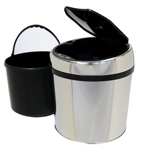 iTouchless Fully Automatic Stainless Steel Touchless Trashcan TX, 1 Gallon (6 Liter)