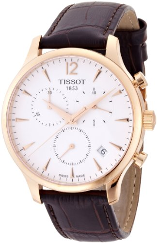 Tissot Mens T063.617.36.037.00 Tradition Gold Tone Watch with Leather Strap