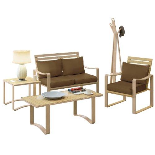 Corliving Lcq-827-Z1 Aquios Bentwood And 5-Piece Living Room Set, Warm Brown