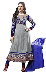 Atisundar Womens Faux Georgette Anarkali Dress Material (5184_32_5003 -Gray And Blue -Free Size)