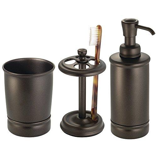mDesign 3-Piece Bath Vanity Accessories - Soap Dispenser, To