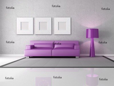 Wallmonkeys Peel and Stick Wall Graphic - Purple and Gray Living Room - 24