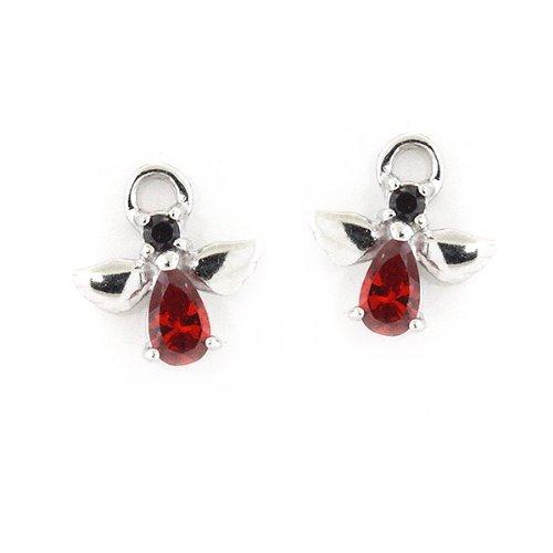 Sterling Silver Red Garnet CZ Christmas Angels Stud Earrings