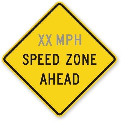 "Custom Mph Speed Zone Ahead Sign, 36"" X 36"""