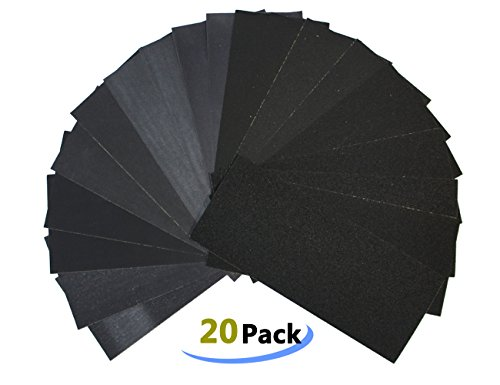 LK-Spring Waterproof Sandpaper 20 Sheets Dry Wet Assorted Grit of 150/180/240/320/400/600/800/1000/1200/1500 for Furniture, Automotive,Finishing ect (150 Grit Wet Dry Sandpaper compare prices)