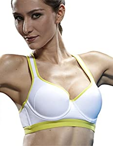 Yvette Racerback/Underwire/Padded/Adjustable/Sexy Sports Bra,White+Lime Green/Neon Yellow,34A/75A