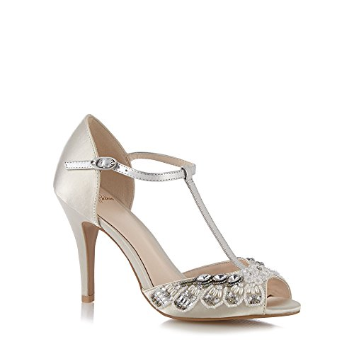 No. 1 <strong>Jenny Packham Womens Designer Ivory Diamant Trim High Sandals