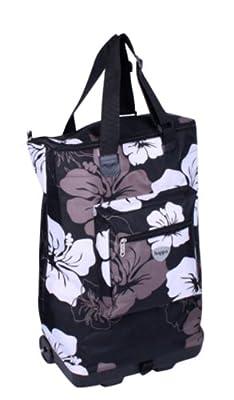 Wheeled Hand Luggage Cabin Bag Flight Bag on Wheels RYANAIR 54x38x19 (Black WILD FLOWER 705)