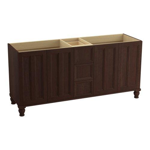 Kohler K-99525-Lg-1Wg Damask 72-Inch Vanity With Furniture Legs, 4 Doors And 3 Drawers, Cherry Tweed