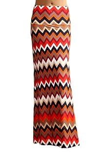Women'S Poly Span Multi Color Chevron Print Maxi Skirt - B97 Beige & Navy XL