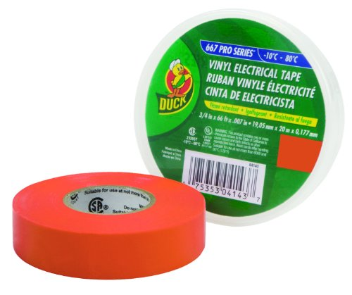 Duck Brand 299005 Pro 667 Series Electrical Tape, 3/4-Inch By 66 Feet, Single Roll, Orange