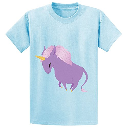 Likeu Chubby Unicorn Show Edition Child Short Sleeve Crew Neck Tee L-blue