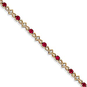 14K Yellow Gold Diamond and Ruby Bracelet, 7 inches, Outstanding Bracelets For Women, Fine Jewelry