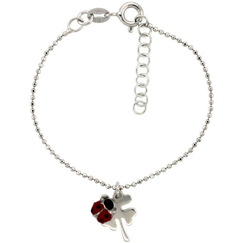 Sterling Silver Pallini Ball Bead Link Baby Bracelet in White Gold Finish w/ Shamrock Clover Flower & Lady Bug Charms (5-6 inch)