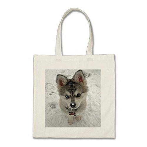 OneMtoss トートバッグ  愛シベリアンハスキーの小犬 買い物バッグ ...