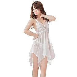 JKFs Women's White Transparent Gauze Belt Sleepshirts Babydoll