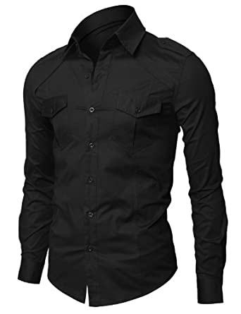 Doublju Mens Casual Shoulder Strap Pocket Slim Dress Shirts BLACK S (CJL)