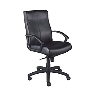 National Office Furniture Result Mid Back Executive Office Chair, Black Leather