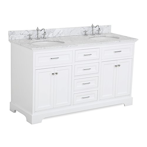 Aria-60-inch-Double-Bathroom-Vanity-CarraraWhite-Includes-a-White-Cabinet-with-Soft-Close-Drawers-Authentic-Italian-Carrara-Marble-Countertop-and-White-Ceramic-Sinks