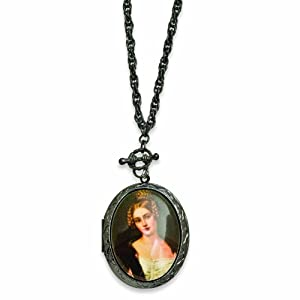 Black-plated Woman Decal Locket 30 Necklace