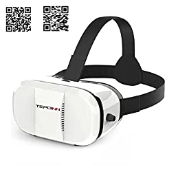 Tepoinn 3D VR Glasses Headset with Adjustable Lens and Strap for 3.5 - 5.5-Inch Smartphones,  White