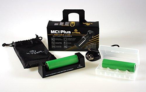 Xtar MC1 Plus Ladegerät + 2x Sony Konion US18650VTC4 18650 Li-ionen Akku 2100mAh 3,6V inkl. Akkubox