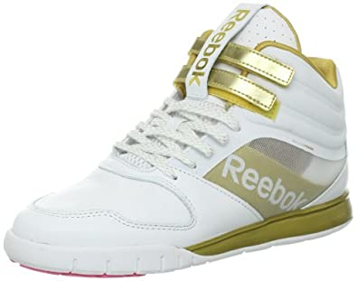 Reebok Women's Dance Urlead Mid SE Shoe,White/True Gold/Pink Zing,5 M US