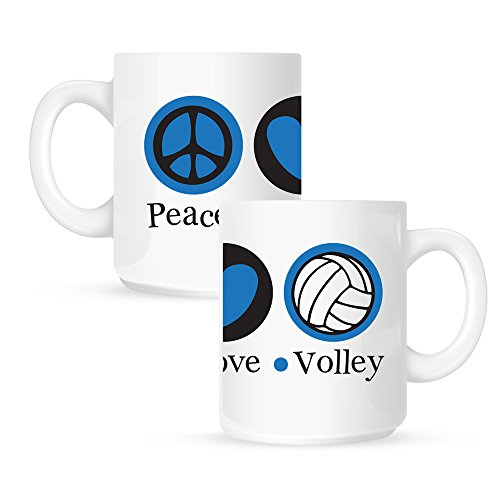 Insomniac Arts - Peace Love and Volleyball - 15 Ounce Coffee Mug
