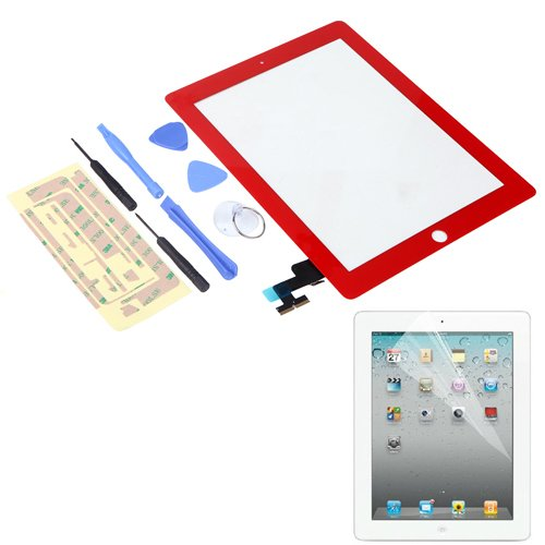 Hde Ipad 2 Digitizer Touch Screen Replacement Parts W/ 7-Piece Tool Kit, Adhesive Tape, And Screen Protector (Red)