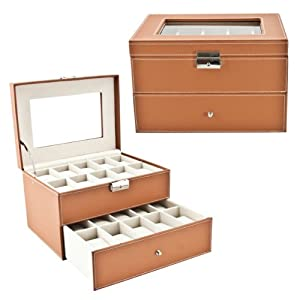 Brown Classic Watch Case Display Box with Clear Top Holds 20 Watches