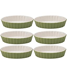 Mrs. Anderson's Baking Ceramic Oval Creme Brulee, Set of 6, Sage