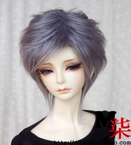 7-8inch(18-19cm): 1/4 BJD MSD, Fur Wig Dollfie, Smoky-Gray Medium Hairstyle