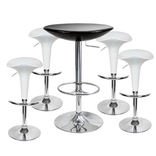 Pod Bar Stool and Podium Table Set White (Black Table + Stools)