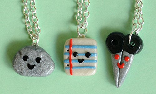 Rock, Paper and Scissor Best Friend Necklaces