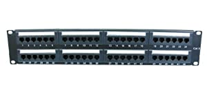 """48 Port 2U Rack Mountable CAT6 Patch Panel - Support T568 A&B wiring & Easy installation - Dual IDC connector can accept 22-26 AWG solid and stranded UTP cables - Compatible with 110 or Krone Tools - can be mounted in 19"""" Racks - Meets the TIA/EIA-568-B.2 Category 6 Channel Testing Performance requirements"""