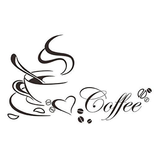 Ularma-Wandaufkleber-Abnehmbare-Kaffeetasse-Wandtattoo-Wanddeco-Wohnzimmer-Kche-Deco-schwarz