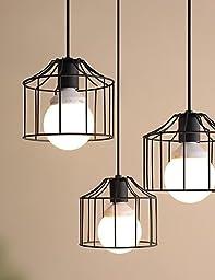 YanCui@ 1 Lights Max 60W Country Metal Pendant Lights Living Room / Bedroom / Dining Room / Kitchen / Study Room/Office , 110-120v-black