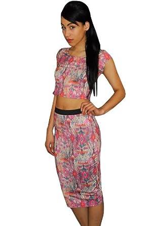 NEW WOMENS ETHNIC CROP TOP PINK TRIBAL AZTEC PRINT CAP SLEEVE CROP TOP UK 8-12 Pink S/M