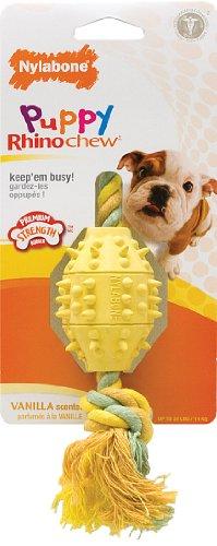 Nylabone Rhino Puppy Teethe n' Tug Chew Toy, Regular