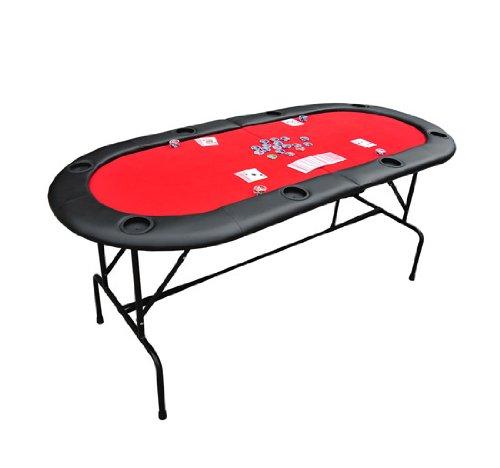 TABLE AVEC PIED PLATEAU DE POKER CASINO OVALE PLIABLE POUR 8 JOUEURS NEUF 03