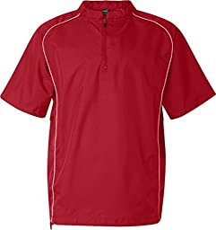 Rawlings Adult Quarter-Zip Short Sleeve Dobby Jacket With Piping (Red) (L)