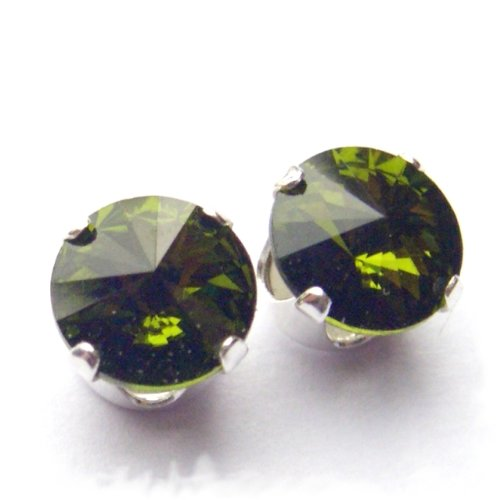 Magnet Therapy 925 Sterling Silver Stud Earrings made with Neodymium Magnets set with Vintage Olivine Green Rivoli Swarovski Crystal Stones. Gift Box. Beautiful jewellery for very special people.