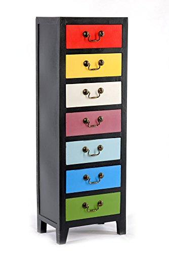 Geko Meuble avec 7tiroirs Multicolore 38x26x110cm