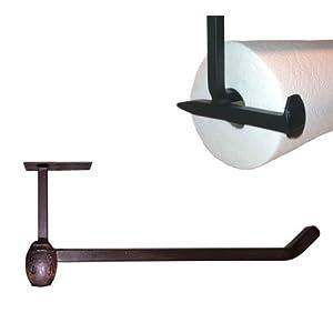 cobre railroad spike under cabinet mount paper towel holder blackened bronze finish. Black Bedroom Furniture Sets. Home Design Ideas