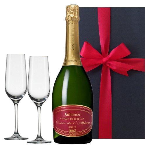 【グラスとワインギフトセット】 スパークリング クレマン・ド・ボルドー フランス (750 mlx1) クリスタルシャンパングラス (x2) / Gift Set Sparkling Wine from France- Bordeaux and Pair of Crystal Flute Champagne Glasse