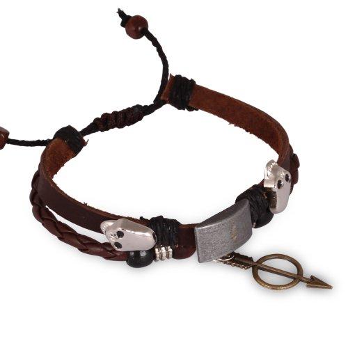 Fashion Plaza Women Men Celtic Skulls Cupid's Sword Charm Leather Bracelet L113