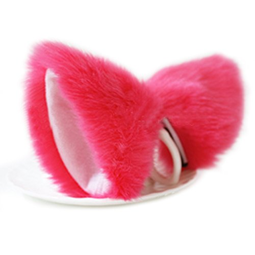 Yiding Cat Fox Fur Ear Hair Clip Anime Cosplay Costume Watermelon Red With White (10-18 Days For Delivery With Tracking No.)